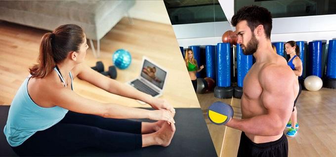 hombre y mujeres haciendo ejercicios